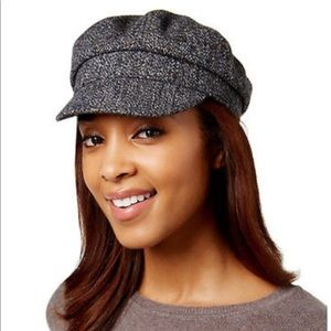 NWT Nine West Gray Tweed Newsboy Cap Hat